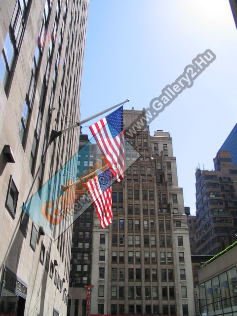 Skyscrapers and American flags